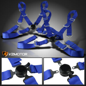 2x Universal Blue 4 Point Cam Lock Racing Harness Ultra Heavy Duty Nylon Strap