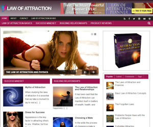 Law Of Attraction Plr Niche Blog Wordpress Ready Made Website