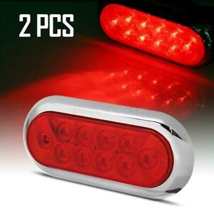 2 Red 10 Led Truck Trailer Light Stop Turn Tail 6 Oval W chrome Surface Mount