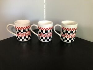 3 Coca-Cola Mugs Black Vintage  White  Red Checkered Coffee Cup - 1996 Gibson