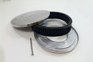 Round Air Cleaner Blue Washable Element Chevy Sbc 350 Bbc 454 10 Pol Alum