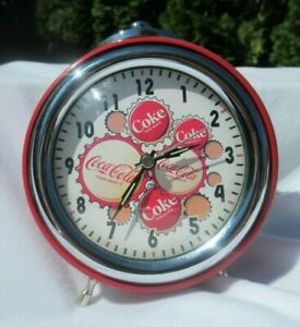 Coca Cola Clock Twin Alarm Bells Lights Up Red