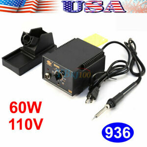 75w 936 Adjustable Temperature Electric Soldering Station Kit W Iron Stand 110v