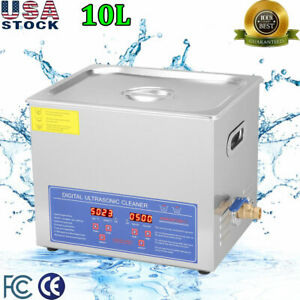 Stainless Steel 10l Liter Industry Heated Ultrasonic Cleaner Heater W timer Us