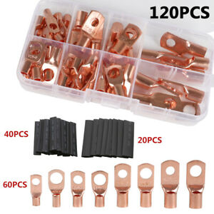 120pc Assorted Copper Ring Lug Terminal Wire Bare Cable Crimp Connectors Kit