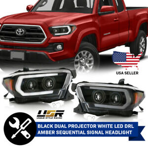 Black White Led Drl Light Bar sequential Signal Headlight For 2016 2019 Tacoma