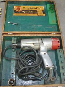 Milwaukee 9051 Model C Electric Impact Wrench 1 2 5 Amp 1900 Rpm W Wooden Case