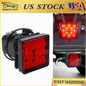 Fits 2 Inch Led Trailer Tow Hitch Cover Light Red Receiver Driving Brake Light