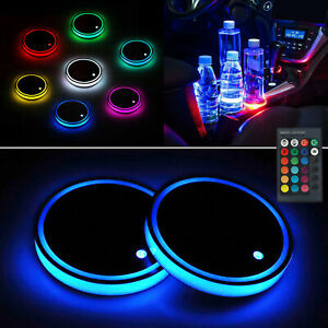 2x Colorful Led Car Cup Holder Pad Mat Auto Interior Atmosphere Lights Remote