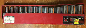 Wright Tool 355 3 8 Drive Deep Metric Socket Set 6mm 19mm 14 Piece Used
