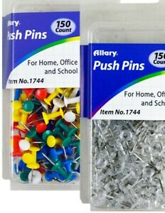 300pc Push Pins Thumb Tack Multi Color Transparent For Office School Home 2pk