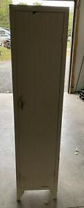Vintage Locker Metal Single Door Multi Shelf Cream Color Good Condition