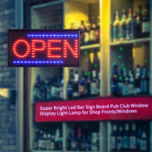 Super Bright Led Open Sign Light Shop Club Board Window Display Neon