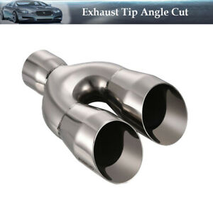 Stainless Steel Dual Exhaust Tip Angle Cut 2 25 Inlet 3 Outlet 9 25 Long