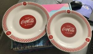 Set of 2 Coca Cola Dinnerware Gibson Dinner Plates Red White Checkered