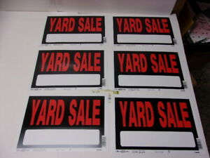 Lot Of 6 Yard Sale Sign 12 X 8 Inch Durable Weatherproof Black Red Lettering 17