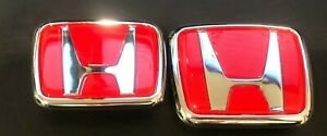 1 Pair Of Honda Civic 06 15 Sedan Red H Front And Rear Emblem Badge Logo