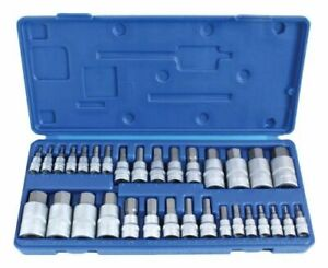 32pc Hex Allen Bit Short Socket Set Metric 2 19mm Imperial Sae 5 64 3 4