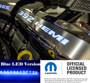 Polished Fuel Rail Covers W Blue Led Inlay For 2015 2020 Srt 6 4l 392 Engines