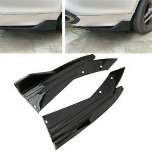 2x Glossy Black Rear Bumper Spoiler Lip Splitter Diffuser Universal Body Kit V4