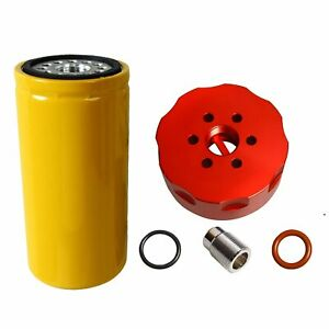 Cat Fuel Filter Adapter Kit Red For 2001 2016 Gm Duramax Diesel 6 6l