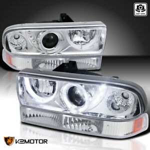 For 1998 2004 Chevy S10 Blazer Clear Led Halo Projector Headlights Bumper Lamps