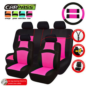 Car Pass Rainbow Universal Fit Car Seat Cover Rose Red Full Set Rear Split Bench