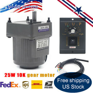 25w Ac110v Ac Gear Motor Electric Motor Variable Speed Controller 1 10 135rpm