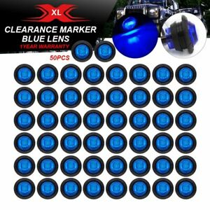 50 X 3 Led Bullet Indicator Round 3 4 Trailer Blue Lights Rv Truck Side Marker