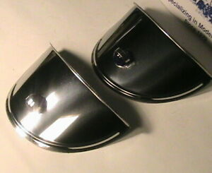 1928 1931 Model A Ford Headlight Visors With Blue Glass Jewel
