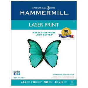 Hammermill Laser Print Paper Letter White 24lb 98 bright 500 Sheets
