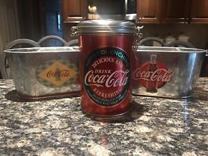 COCA-COLA Miniature Oval Tubs(2) & Cannister. NOS!!!