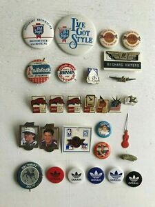 Lot 29 Coca Cola Adidas NFL MLB Heinz Old Style Case Political Buttons Hat Pins