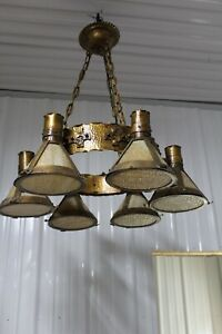 Heavy Large Arts Crafts Hanging Light Fixture Slag Glass Shade Copper Hammered