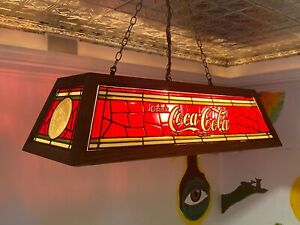 Stained-Glass Coca-Cola Antique/Collectable Billiard Light Fixture