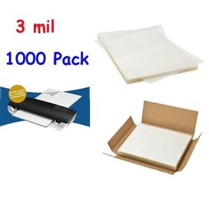 1000 Pack 3 Mil Letter Size Clear Thermal Laminating Pouches 9 X 11 5 Sheets