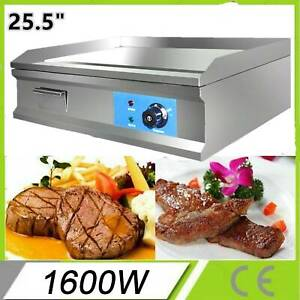New 1600w 25 5 Electric Countertop Flat Griddle Restaurant Top Grill Commercial