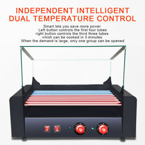 New 1350w Electric 18 Hot Dog 7 Roller Cooker Durable Grill Commercial Machine