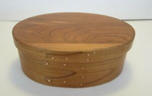 Hand Made Maple Cherry Oval Shaker Box By Burt A Wykhuis Oostburg Wi Veteran