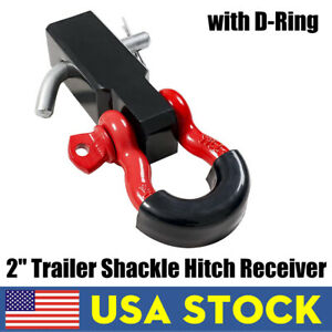 2 Inch Trailer Shackle Hitch Receiver 3 4 D Ring Tow Hook Winch Receiver New