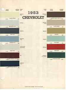 1953 Chevy Paint Chip Chart Must See