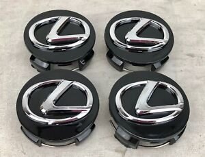 4x Wheel Rim Center Hub Cap Gloss Black Chrome Logo 62mm Fits Lexus 2006 2019