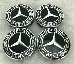 4 Pcs 75mm For Mercedes Benz Black Laurel Wreath Wheel Hub Center Caps