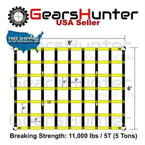 6 X8 2 Strap Heavy Duty Trailer Pickup Truck Bed Cargo Net Cover 4 Metal Rings