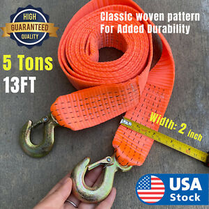 5 Tons Car Tow Cable Towing Strap Rope With Hooks Emergency Heavy Duty 13 Ft