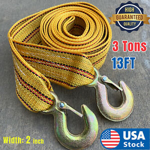Usa 3tons Car Tow Cable Towing Strap Rope With Hooks Emergency Heavy Duty 13 Ft