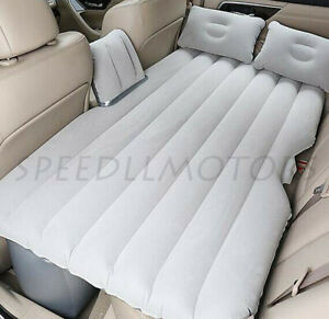 Gray Car Air Bed Inflatable Mattress Back Seat Cushion Pillow For Travel Camping