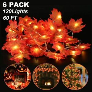 6 Pack Maple Leaves Lights Thanksgiving Decor Fall Garland String Lights 60 Ft