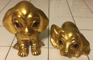 Vintage Anthony Freeman McFarlin Gold Big Eyes Puppy Puppies Signed R. Hetrick