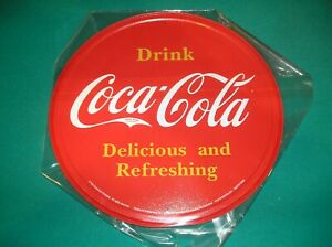 COCA COLA ADVERTISING METAL SIGN - MADE IN THE USA & AUTHORIZED BY COCA COLA
